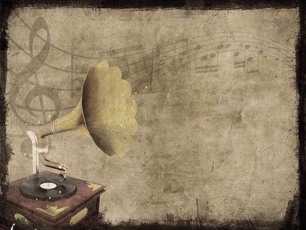 Sale fond grunge avec de vieux gramophone et les notes de musique