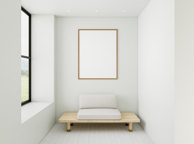 Salle 3d minimale avec cadre élégant