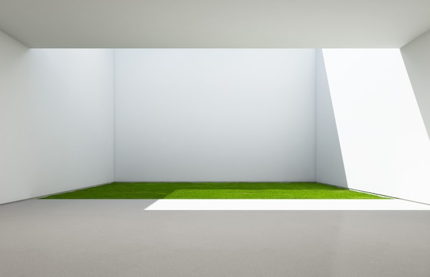 Salle abstraite avec fond de mur blanc.