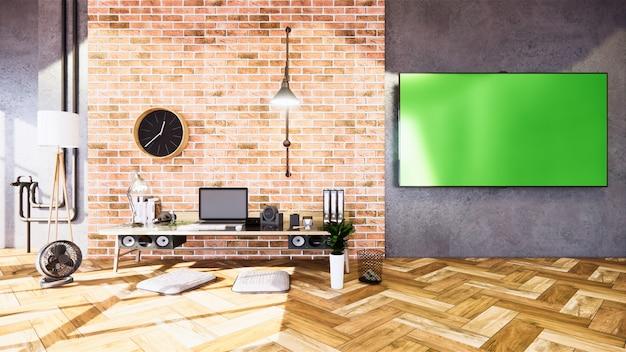Salle d'affaires style loft vide avec style loft design mur en béton. rendu 3d