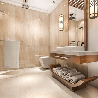 Salle de bain en bois de luxe moderne en rendu 3d dans l'hôtel