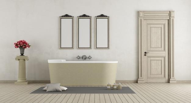 Salle de bain classique avec baignoire en pierre, porte fermée et piédestal avec des roses. rendu 3d