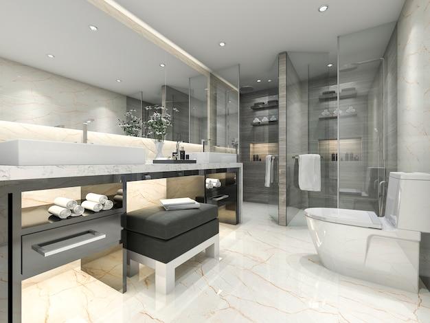 Salle de bain classique moderne au rendu 3d avec un décor de carreaux de luxe
