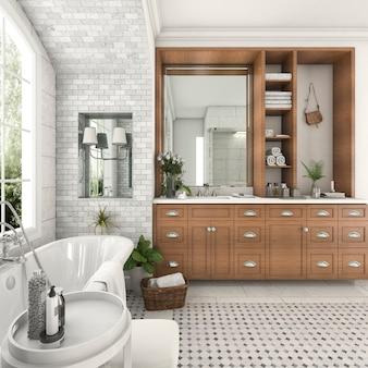 Salle de bain design 3d rendu bois et carrelage près de la fenêtre avec mur de briques