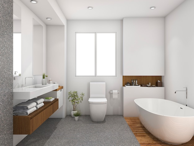 Salle de bain design 3d rendu bois et carrelage près de la fenêtre