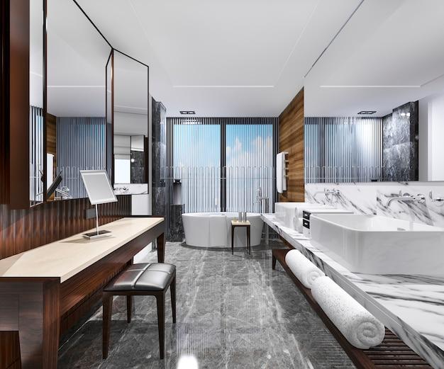 Salle de bain loft moderne au rendu 3d avec décor de carreaux de luxe avec table de maquillage