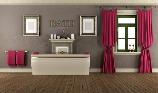 Salle de bain de luxe à l'ancienne avec baignoire classique