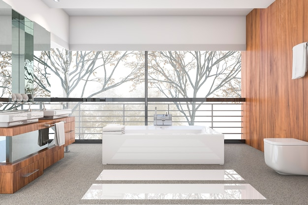 Salle de bain minimaliste moderne avec rendu scandinave et belle vue sur la nature depuis la fenêtre