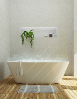 Salle de bain moderne avec baignoire, appartement de luxe. rendu 3d