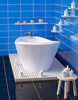 Salle de bain moderne avec bain en céramique avec des bougies.