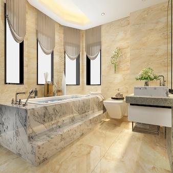 Salle de bain moderne classique avec rendu 3d