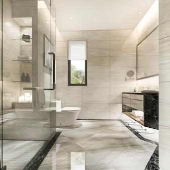 Salle de bain moderne de rendu 3d avec décor de carreaux de luxe