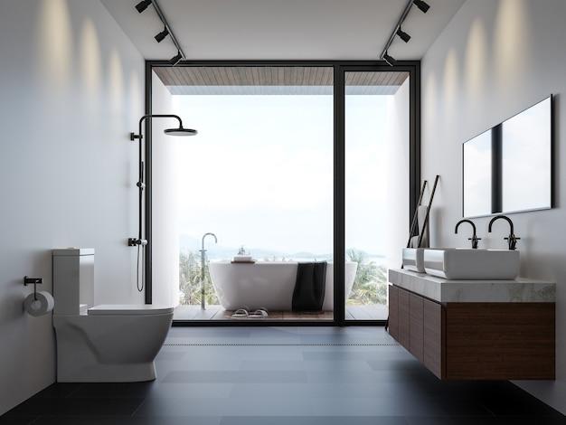Salle de bain moderne avec vue sur la mer rendu 3d il y a une baignoire sur le balcon extérieur