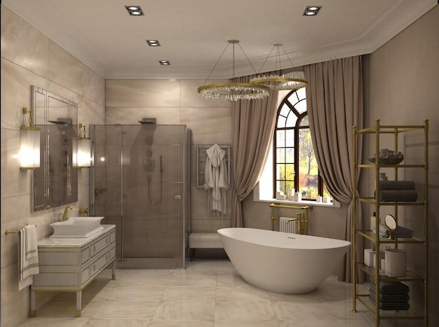 Salle de bain, visualisation intérieure, illustration 3d