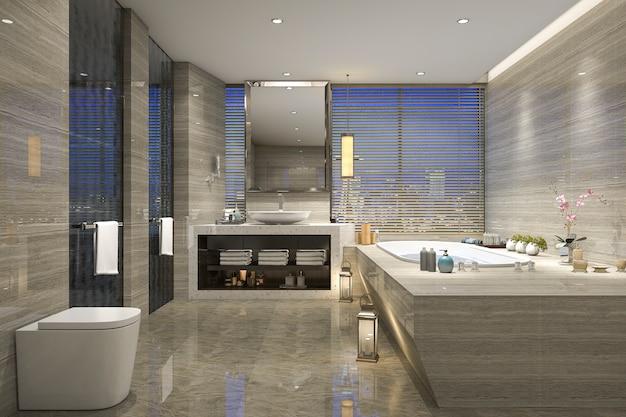 Salle de bain vue de nuit rendu 3d avec la conception de luxe moderne