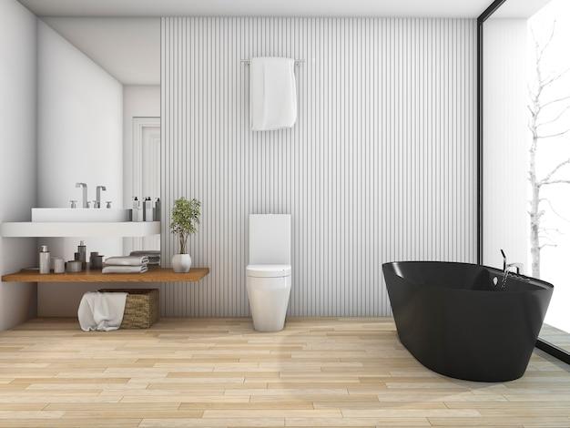 Salle de bains en bois blanc rendu 3d près de la fenêtre en hiver