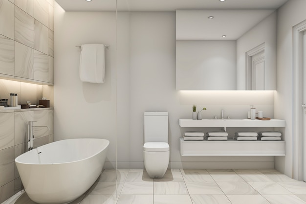 Salle de bains en marbre blanc de luxe rendu 3d salle de bains en marbre de rendu 3d blanc carrelage
