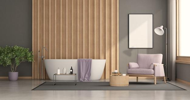 Salle de bains moderne avec baignoire avec panneau en bois sur fond et fauteuil - rendu 3d