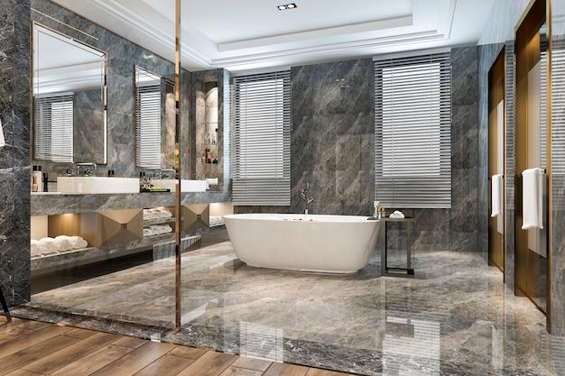 Salle de bains moderne classique au rendu 3d avec décor de carreaux de luxe
