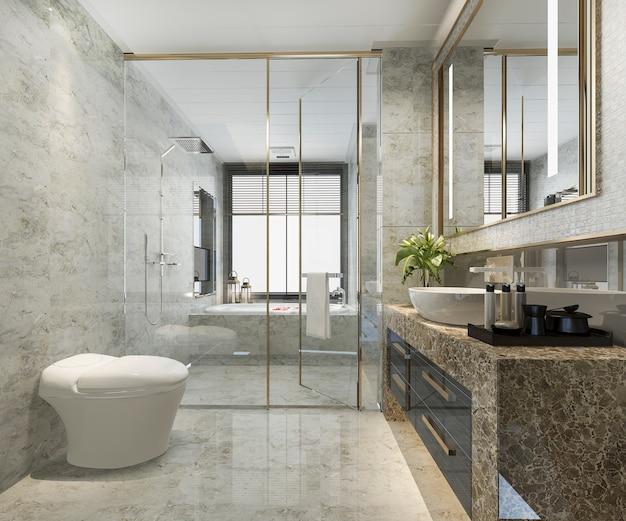 Salle de bains moderne classique de rendu 3d avec un décor de carreaux de luxe