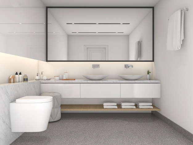 Salle de bains de style moderne minimal blanc rendu 3d