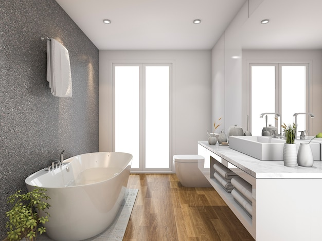 Salle de bains et toilettes en bois rendu 3d à la lumière du jour depuis une fenêtre