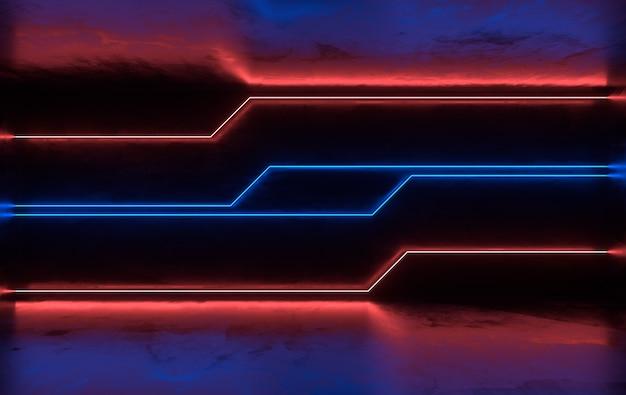 Salle de béton futuriste de science-fiction avec néon lumineux
