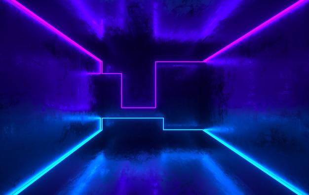 Salle de béton scifi futuriste avec néons lumineux