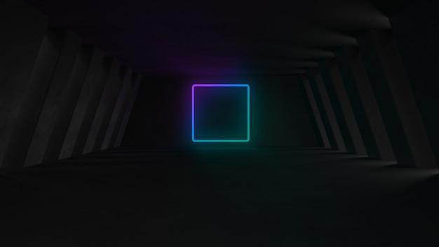 Salle de béton vide avec néons