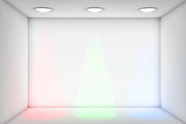 Salle blanche de plan rapproché extrême avec des lumières de rvb pour l'exposition