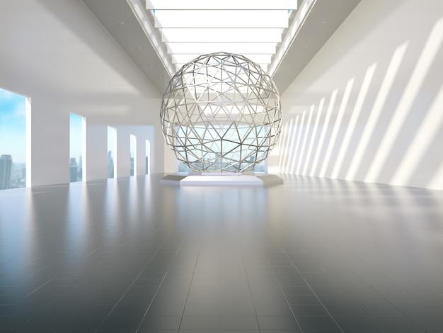 Salle blanche vide avec lumières latérales, vitrine du produit. rendu 3d