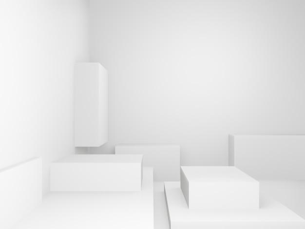 Salle de boîtes blanches abstraites
