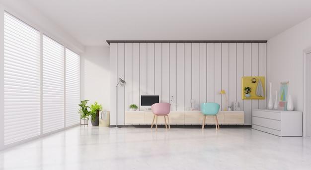 Salle de bureau avec un fond pastel, vue de face d'un intérieur de travail avec salle vide mur blanc.