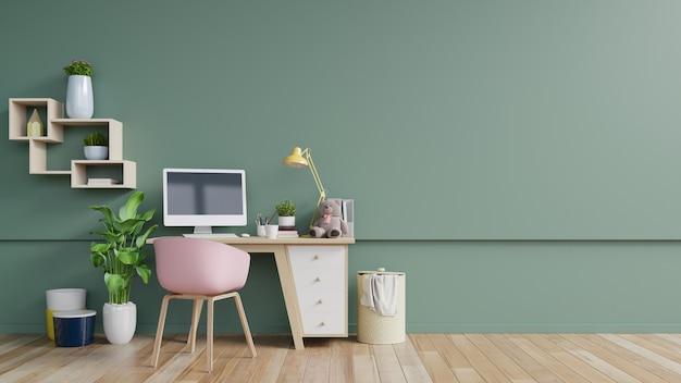 Salle de bureau avec un mur vide