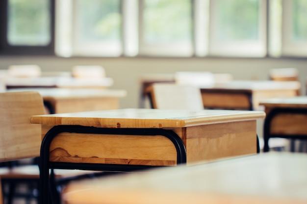 Salle de classe vide avec bureaux et chaises
