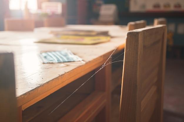Une salle de classe vide avec une chaise recouverte d'un masque facial usagé et de toiles d'araignées en raison de la suspension des cours pendant la pandémie de covid-19