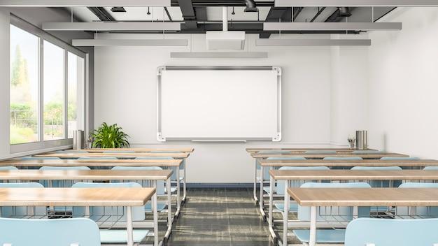 Salle de classe vide ou intérieur de la salle de présentation avec des bureaux, des chaises et un tableau blanc