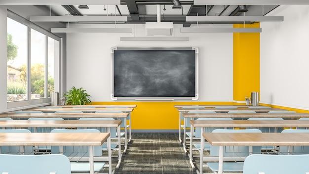 Salle de classe vide ou intérieur de la salle de présentation avec des bureaux, des chaises et un tableau noir