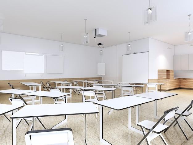 Salle de classe vide pour les étudiants avec équipement moderne et cuisine. rendu 3d.