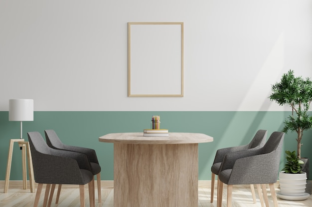 Salle de conférence avec chaises et bureau et cadre photo sur le mur