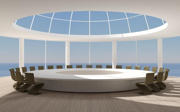 Salle de conférence pour réunions avec une forme ronde en dôme avec une grande table