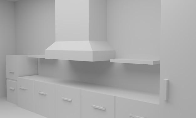 Salle de cuisine de l'arrière-plan., rendu 3d.