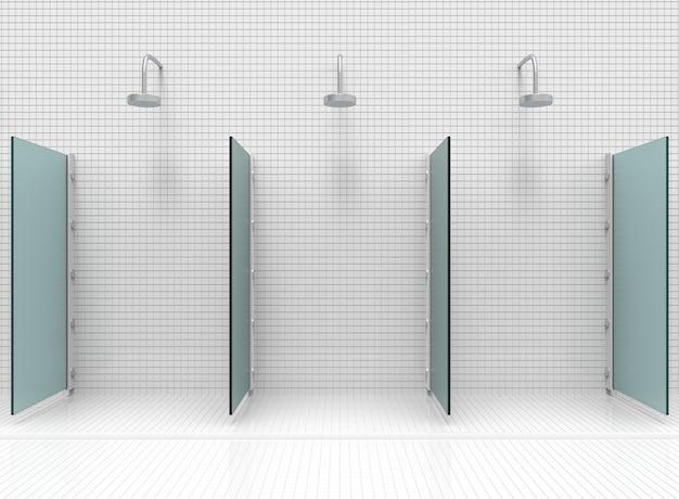 Salle de douche moderne séparée par un miroir bleu.