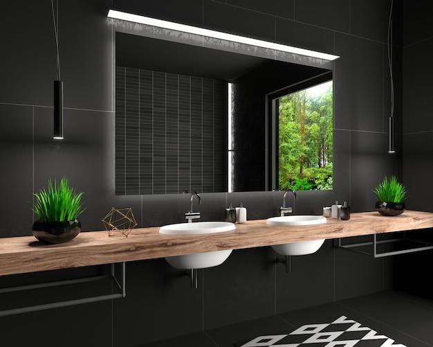 Salle de douche en verre moderne de style loft