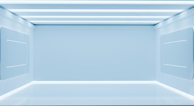 Salle de friction scientifique blanche réaliste, salle vide 3d, rendu d'illustrations 3d