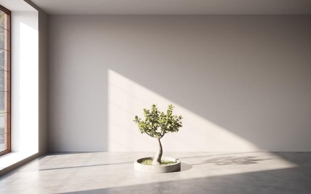 Salle intérieure de la galerie avec mur vide et arbre décoratif concept de galerie maquette rendu 3d