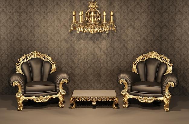 Salle intérieure de luxe 3d