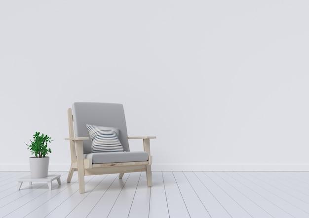 Salle intérieure moderne avec de beaux meubles et des plantes ornementales. illustration 3d
