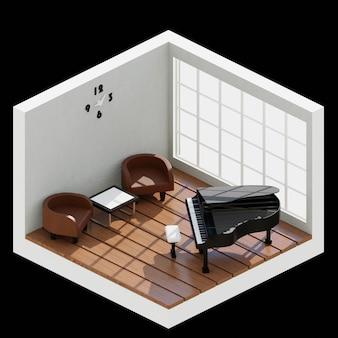 Salle isométrique 3d avec piano là-dedans