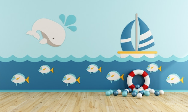 Salle de jeux de style marin sans meubles. rendu 3d